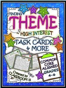 themes in realistic literature 13 best teaching theme task cards more differentiated