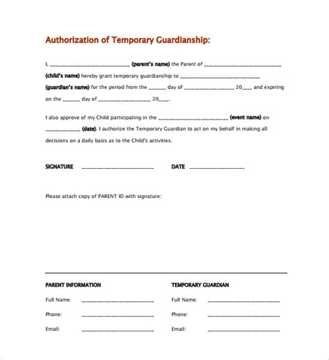 authorization letter as a guardian sle temporary guardianship form 8 documents