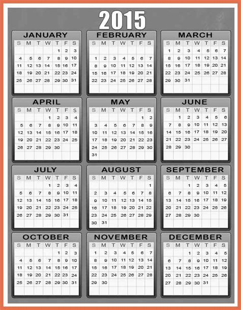 2015 year calendar template printable yearly calendar 2015 bio exle