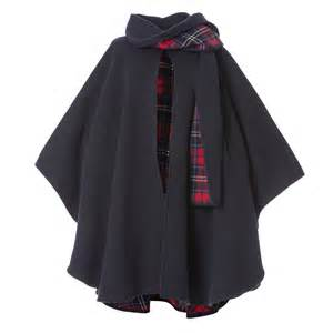 Peter james ladies wool and cashmere scarf cape navy check peter