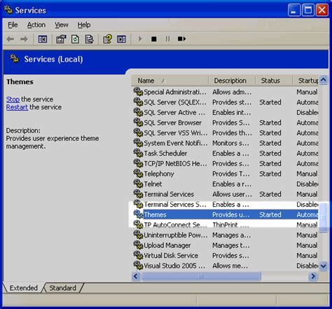 microsoft themes service force windows 2003 to look like xp remote administration