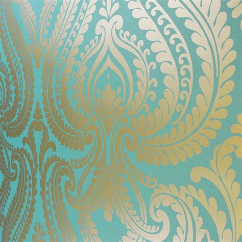 teal and black wallpaper uk shimmer damask metallic wallpaper rich teal gold