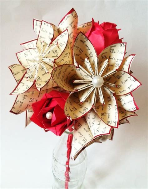Origami Bouquet Of Roses - paper flowers roses dozen anniversary gift