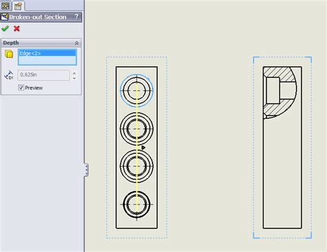 broken out section solidworks visually determine the depth of a broken out section in a