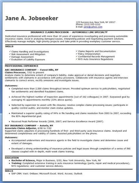 Insurance Claims Processor Sle Resume by Claims Claims Representative