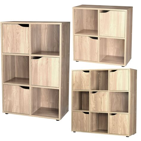 storage bookcase with doors 4 6 9 wooden cube storage unit display shelves cupboard