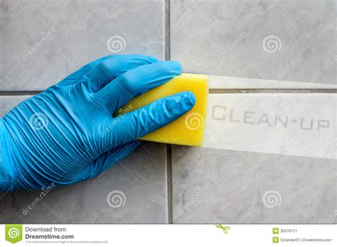 Bathroom Cleaning Sponge sponge cleaning bathroom with text stock image image