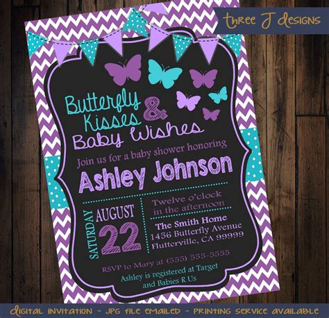 Purple And Teal Baby Shower Invitations by Purple Teal Butterfly Baby Shower Invitation By