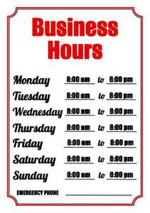 Office Hours Template by 4 Best Images Of Free Printable Business Hours Sign