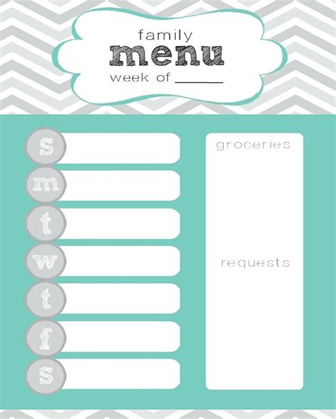 printable meal planning menu 7 best images of cute printable weekly menu planners