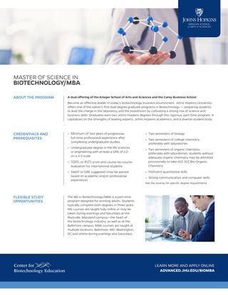 Mba Ms In Biotechnology by Fact Sheet Ms In Biotechnology Mba By Johns