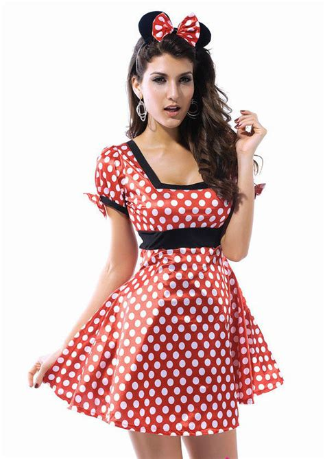 Dress Katun Mini Mouse Import womens flirty miss mini mouse fancy dress costume minnie s 8 10 s ebay