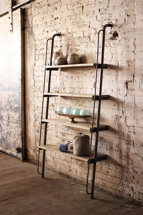 metal and wood shelving unit