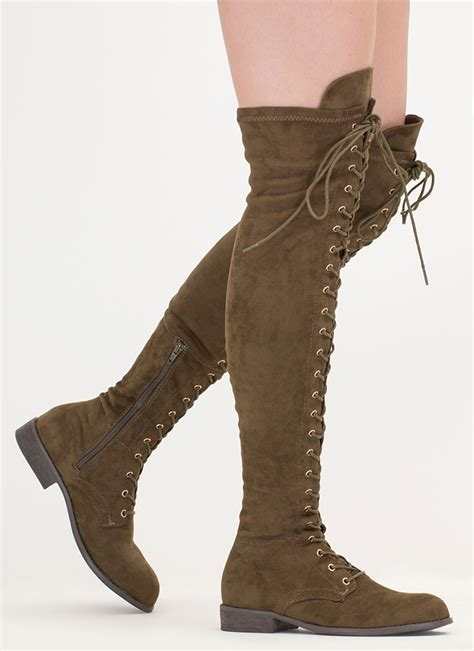 olive color boots stand lace up thigh high boots taupe olive gojane