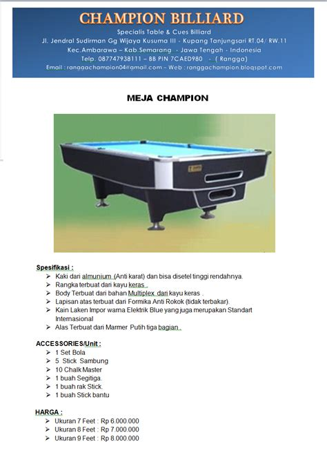 Meja Billiard Di Batam chion billiard meja billiard chion standart series