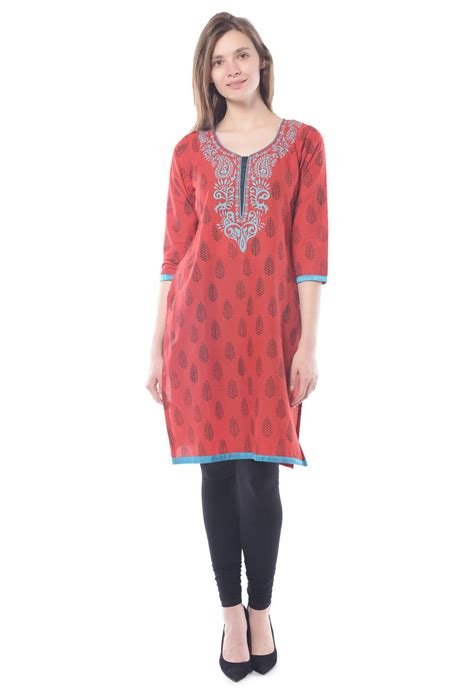 print pattern kurti buy red cotton block print stitched kurti online