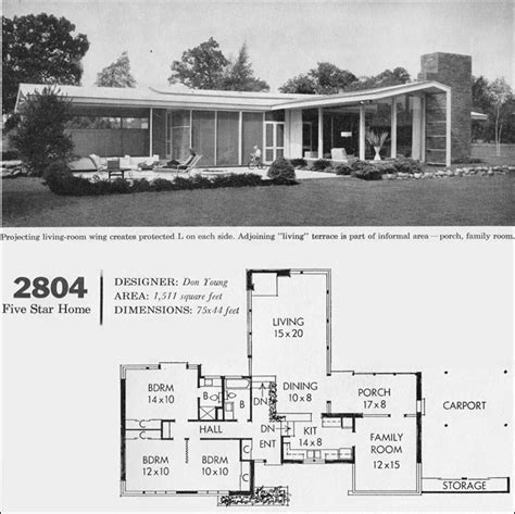 C 1960 Mid Century California Modern House Plan Better Homes Garden Five Star Homes