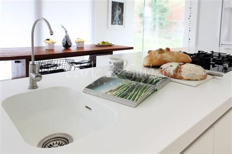 Corian Moulded Sink A Contemporary Family Kitchen White High Gloss Designer
