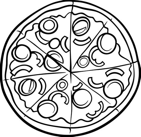 pizza coloring pages kids sketch coloring page