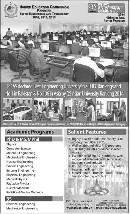 Bs In Mechanical Engineering And Mba by Admissions Open 2014 In Pieas Pakistan Institute Of