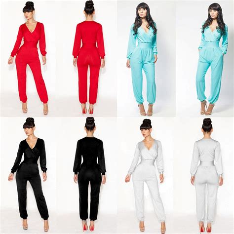 V Colourful Jumpsuit Sml 26403 sale womens v neck casual sleeve jumpsuit