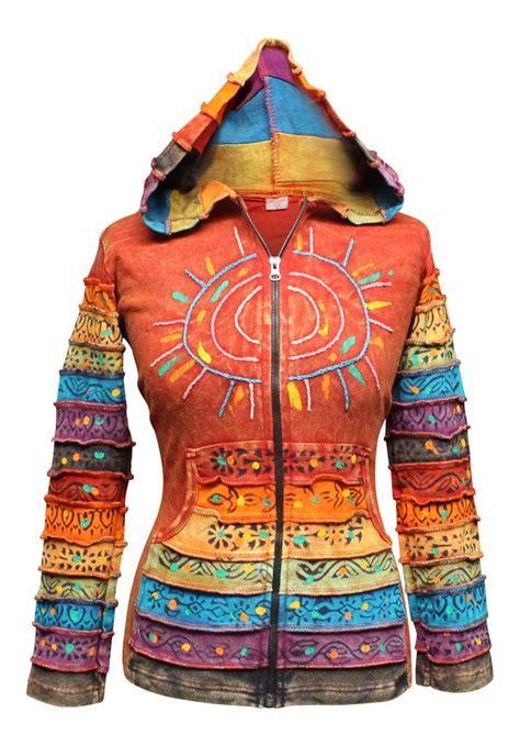 Patchwork Hippie - sun patchwork hippy boho pointy hoody cardigan punky