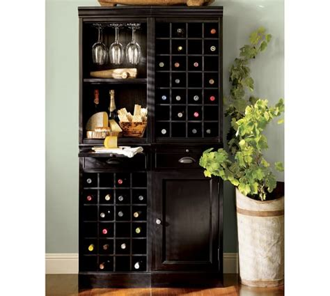 pottery barn wine cabinet modular bar system with 1 wine hutch 1 open hutch