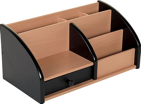 Desk Storage Organizers Osco Wooden Desk Organiser Black And Beech Stationary Pen Storage Holder Ebay