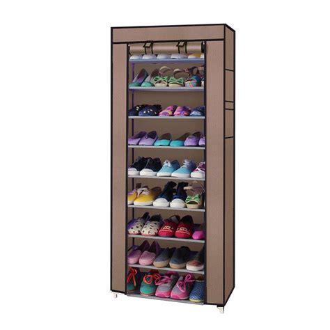 shoe storage with cover 10 tiers 9 lattices shoe rack shelf storage closet