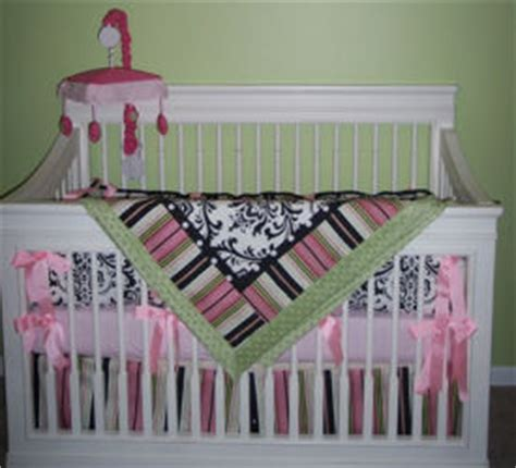 Green And Black Crib Bedding Damask Nursery Ideas And Baby Bedding Sets For A Baby Nursery Room