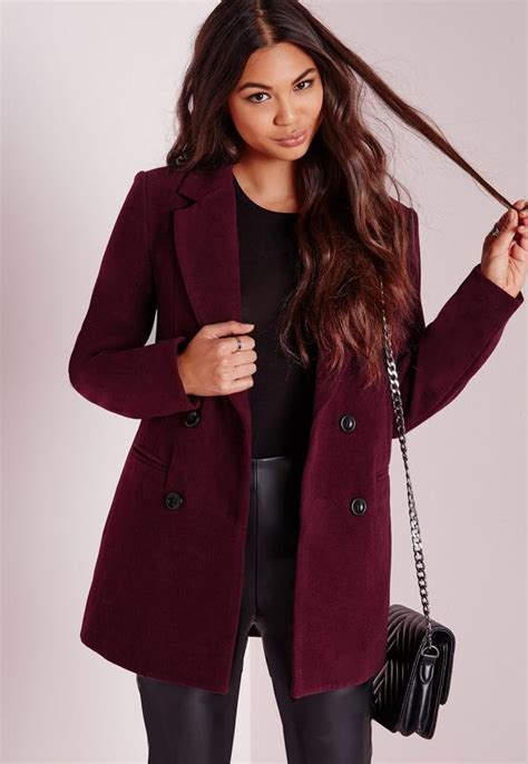 Vest Coat Maroon breasted tailored wool coat burgundy missguided