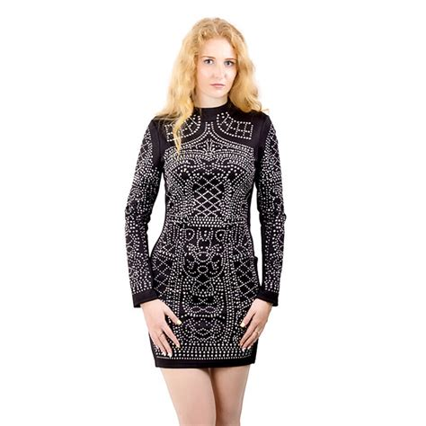 pattern dress tight fashion sexy geometric pattern rhinestone turtleneck long