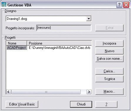 tutorial autocad vba tutorial acad vba 8 incorporare un progetto dvb