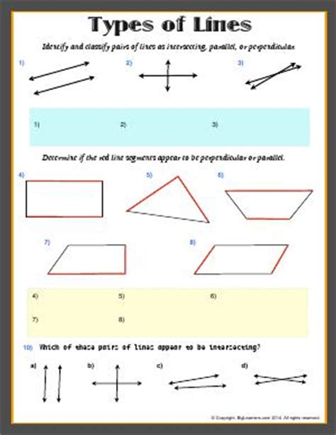 types pattern grading types of lines third grade math worksheets biglearners