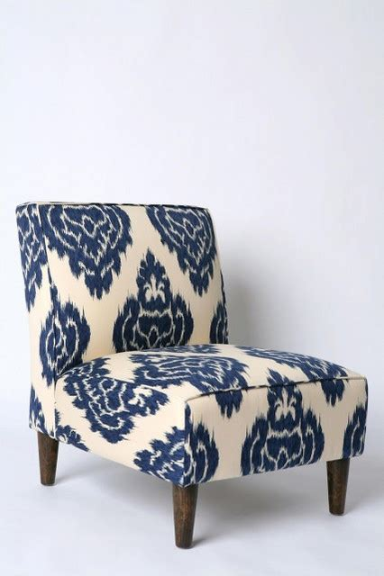 ikat slipper chair indigo ikat slipper chair eclectic armchairs and