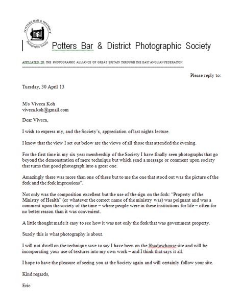 appreciation letter to chef lovely letter of thanks from potters bar photographic