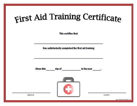 first aid training certificate free printable