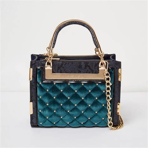 River Island Quilted Tote Bag by River Island Blue Quilted Velvet Stud Mini Tote Bag In