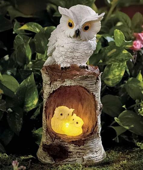 white solar owl family statue garden yard lawn art porch