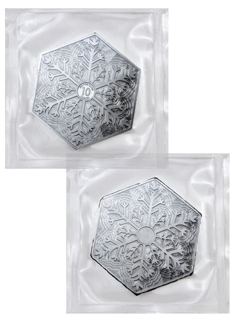 10 oz silver hexagon snowflake elemetal mint snowflake hexagon 10 oz silver bar in