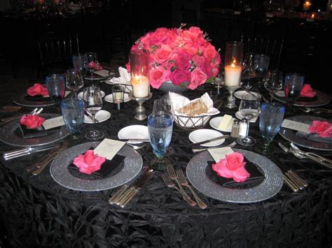 black blue and silver table settings black and pink wedding table settings www pixshark com