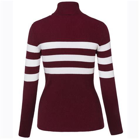 Turtleneck Stripe 3 s slim sleeve turtleneck stripe pullover sweater n15811