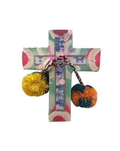 cross home decor ahoy trader cross coral dreams kreo home ahoy trader embellished cross turquoise floral new
