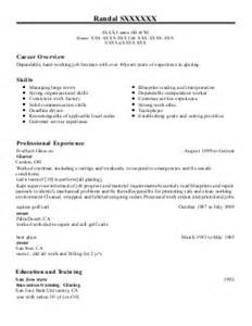 Glazing Estimator Sle Resume by Glaziers Resume Exles Construction Resumes Livecareer