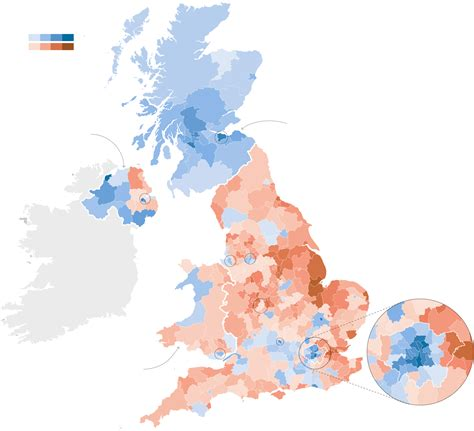 map uk remain leave how britain voted in the e u referendum the new york times