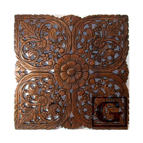 lotus flower teak wood carved home decor wall panel decorative 3 gtahy ebay