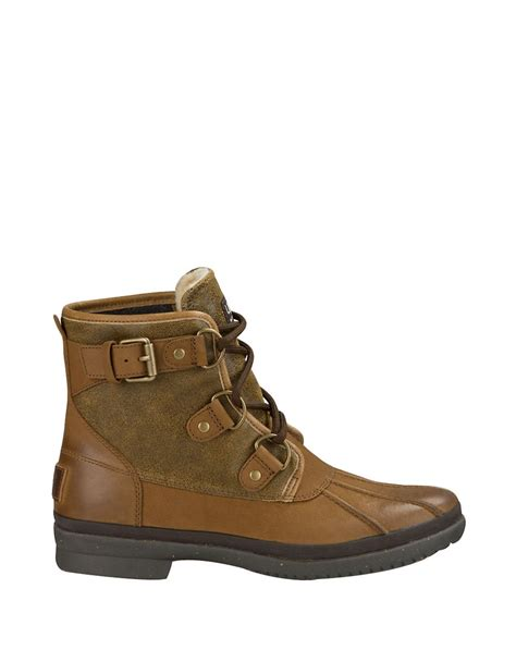 ugg cecile faux fur lined leather duck boots in brown