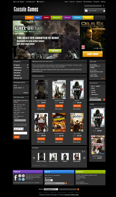 gaming templates cs cart 2 template