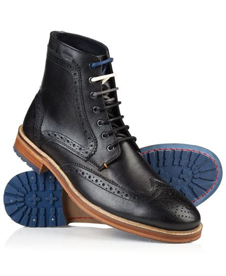 mens shooter leather boots in black superdry