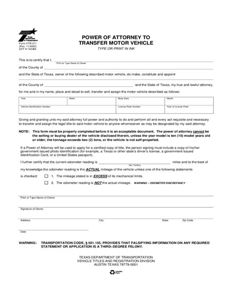 Power Of Attorney To Transfer Motor Vehicle Texas Free Download Power Of Attorney To Sell A Car Template